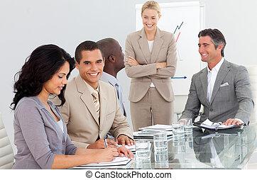 presentation, affär, folk