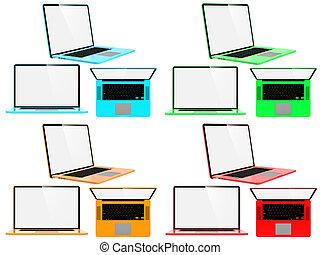 Set of Color Modern Laptops.
