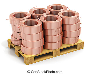 Stacked hunks of copper cable on shipping pallet - Creative...