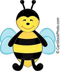 Cute cartoon bee. Vector illustrati