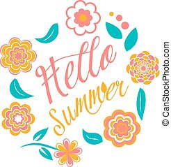 Vector colorful circular floral wreaths on white. Hello summer sign
