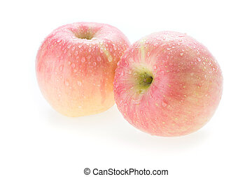 apple fuji fruit with water drops on white background -...