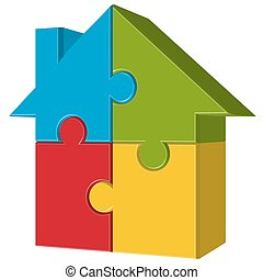 puzzle house with four parts - three dimensional puzzle...