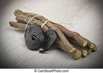 Licorice roots and candy - Licorice roots and licorice black...