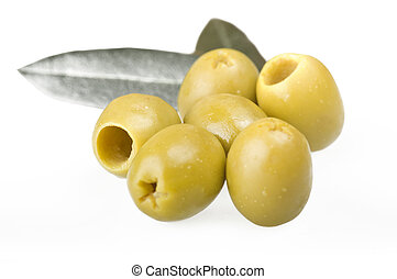 dénoyauté, vert, olives,