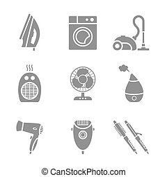 Set of home appliances and electronics icons - 9 items set...