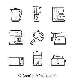 Kitchen appliances vector line style icon set - Household...