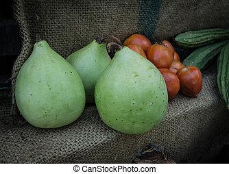 Bottle gourd in market