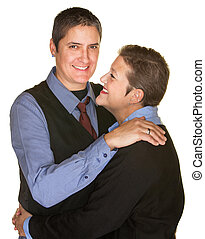 Tall and Short Couple Hugging - Tall and short gay couple...