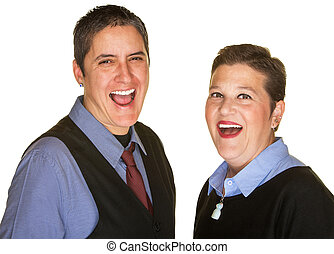 Hysterical Couple Laughing - Laughing lesbian couple in blue...