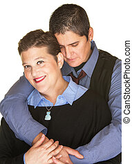 Contented Woman Held By Girlfriend - Smiling lesbian female...