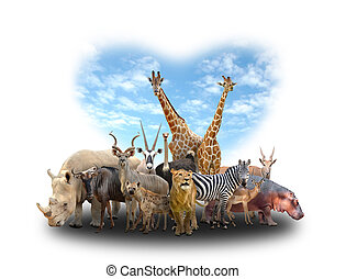 group of africa animals with heart shape sky on white...