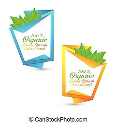 Colorful set of banners with fresh green leaves. Eco design. Vector illustration