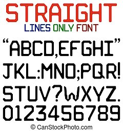 Straight Lines Font - Upper case alphabets, numerals and...