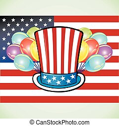 Independence Day flag hat and balloons
