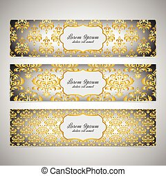 Collection horizontal banners in the style of Baroque ....