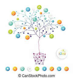 Business plan tree with place for your text and business training. Vector illustration