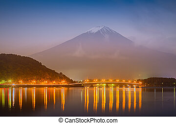 Beautiful mt. Fuji in twilight