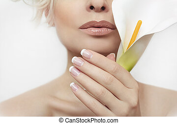 French manicure. - French manicure for the girl with the...