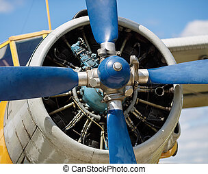 Airplane propeller close-up - Propeller and airplane engine...
