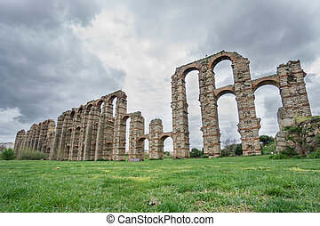 Side view of Aqueduct of the Miracles in Merida - Wide angle...