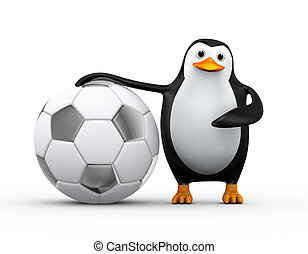 3d penguin soccer player with large football - 3d...