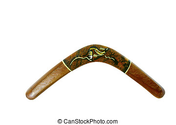 Boomerang, Painted - Wooden boomerang painted with aborigine...