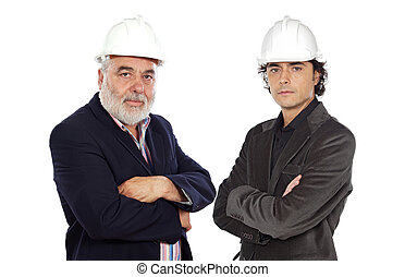 Couple of architect on a over white background