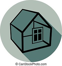 Simple house vector  detailed illustration. Property developer conceptual icon, real estate emblem.  Building modeling and engineering projects abstract symbol.