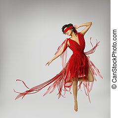Woman Artist Dancing in Red Dress, Girl wit
