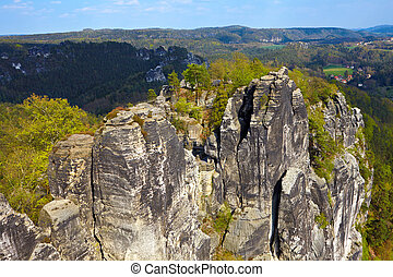 Saxon Switzerland - View of the rock formations at Bastei -...