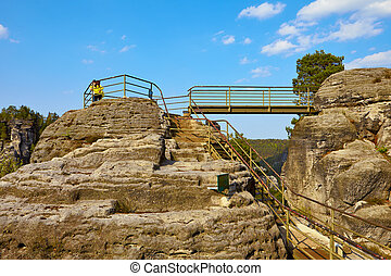 Saxon Switzerland - View of the rock formations and bridge -...
