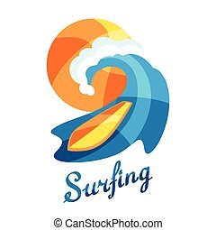 Bright surfing illustration or print for t-shirts.