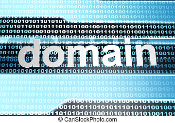 Domain - The word domain in front of a binary background.