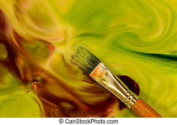 Green Paint Brush - Mixture of color in this water paint and...