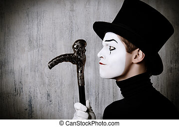 miser man - Portrait in profile of a male mime artist...