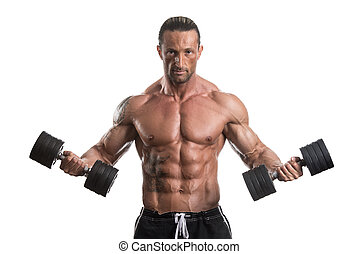 Man Working Out With Dumbbells On White Background -...