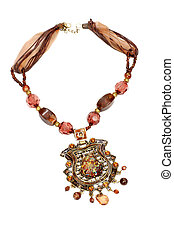 Beautiful necklace made of brown and yellow beads isolated...