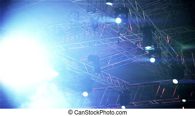 Stage vector lights, on live show concert spotlight rays on...