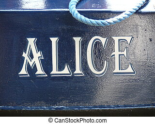 Alice - painted name of Alice on a canal boat