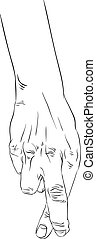 Cheater hand with crossed fingers, detailed black and white lines vector illustration, hand drawn.