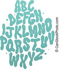 Abstract water font. Vector alphabet