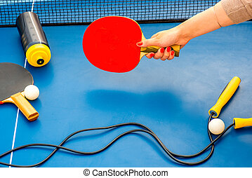 Table tennis equipment - Holding table tennis racket with...