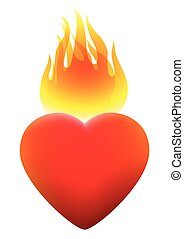 Burning Heart On Fire - Burning heart on fire. Isolated...