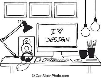 design studio mock up, vector - hand-drawn studio mock up...