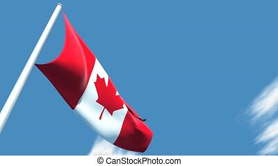 Canadian flag floating on the sky - This is a very realistic...