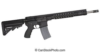Modern sporting rifle - Black semi automatic rifle that is...