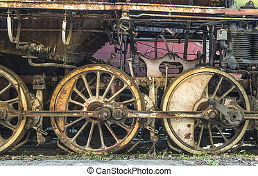 Details of an old steam locomotive. Close up wheels