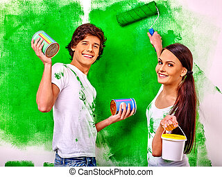 Family paint wall at home.