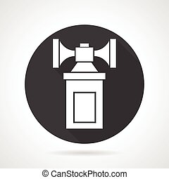 Air horn black round vector icon - Flat black round vector...